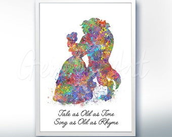 Disney Princess Belle Beauty and the Beast Watercolor Quote [3] Poster Print - Watercolor Painting - Watercolor Art Kids Decor Nursery Decor
