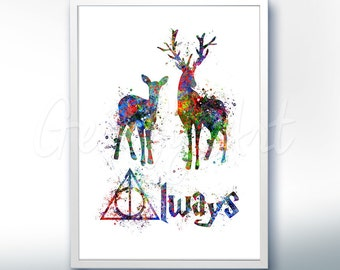 Harry Potter Patronus Charm Deathly Hallows Watercolor Poster Print - Watercolor Painting - Watercolor Art - Kids Decor- Nursery Decor
