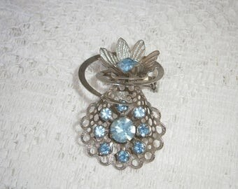Ice Blue Rhinestone Brooch