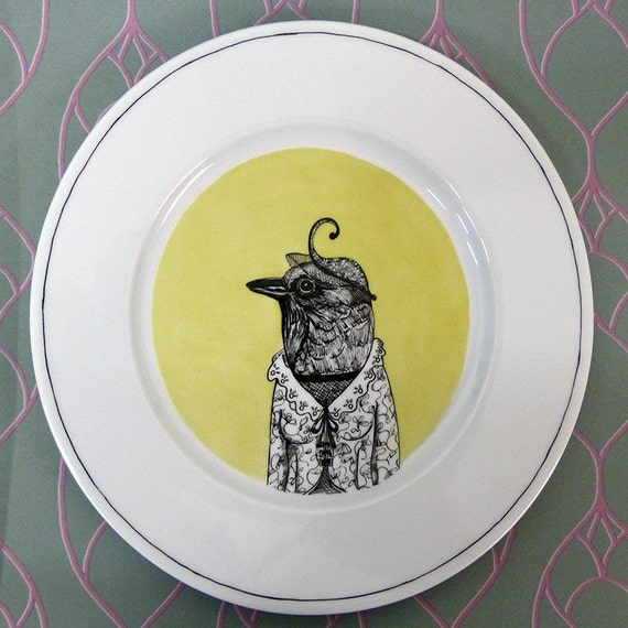 Hand painted porcelain collection plate  - A swallow