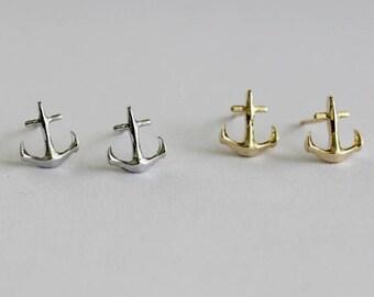 Anchor Stud Earrings / nautical earrings, navy earrings, sailor earrings, nautical jewelry, ship dock / E0-09