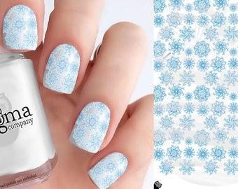 Blue Snowflake Nail Decals (1 Sheet)