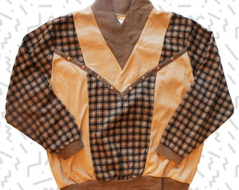 Plaid Pullover with Cowl Collar and Gold Studs