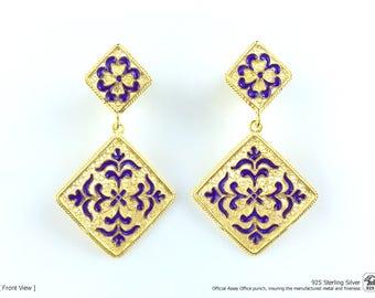 Azulejo EARRINGS w/ Enamel Traditional Viana FILIGREE 925 Sterling Silver w/ 24k Gold Bath