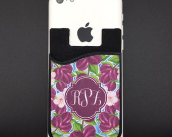 Monogram Card Caddy   Phone Wallet Case    Credit Card Holder  Personalized Card Caddy   Greek Letters   Personalized Gift