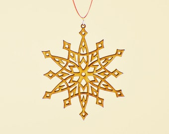 Laser Cut Wood Snowflake Ornament - Design #10 - 50% off