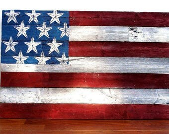 Wooden American Flag Wall Art Rustic American Flag | Etsy