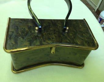 Vintage marblized brown Wilardy lucite handbag