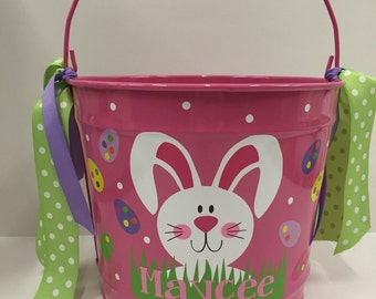 Personalized Easter Basket -personalized Easter Bucket- Easter Basket- 10 Quart Bucket- Easter Pail- Personalized Girls bucket