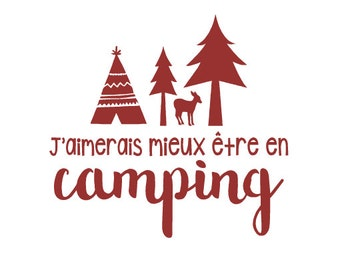 "Sticker ""I'd rather be camping."