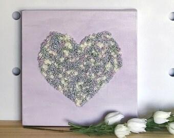 Heart Canvas Art, Embroidery Art, Embroidery Hoop Art, Heart Wall Art, Wall Decor, Purple, Pastel Decor, Nursery Decor, Anniversary gift