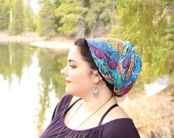 Soft Non-Slip Colorful Tichel, Mothers Day Gift, Head Scarf, Chemo Hat, Turban Hat, Hair Scarf, Chemo Headwear, Head Wrap, Snood, Hair Wrap