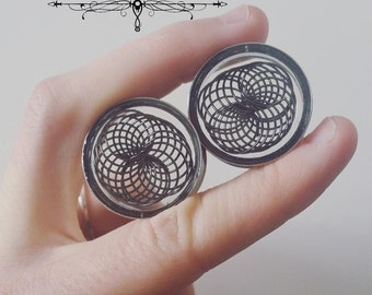 Pair of plugs 25mm stainless steel rosettes