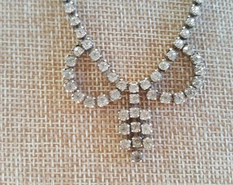 1950s Vintage Sparkly Rhinestone Bow Necklace