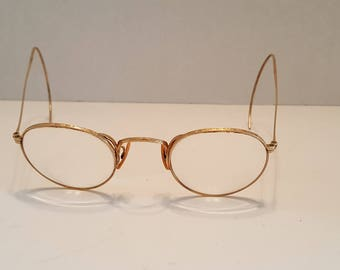 Antique Oval Wire Rimmed Glasses 12K Gold Filled Steampunk