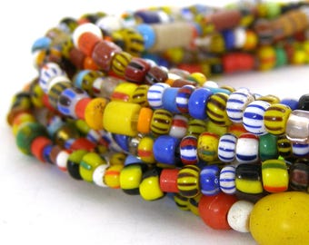 34 Inches of Christmas Beads - 2mm to 6mm - African Trade - Bright Colors - Stripes - Ethnic Beads