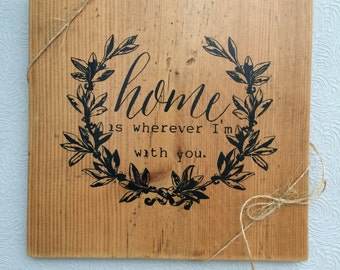 "rustic barn board sign ""Home"""