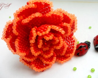 Accessories  Hair Accessories Hair Jewelry Flower clip hair Flower barrette Rose beaded Red rose Beaded flower Barrette rose Gift birthday