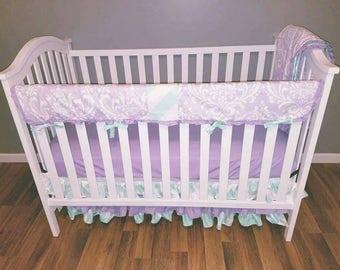 Light Purple and Mint Crib Bedding