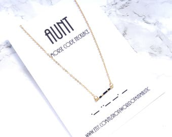 AUNT morse code necklace, morse code jewelry, aunt gift, baby shower gift, bridesmaid gift, sister gift, minimalist necklace, gift for her