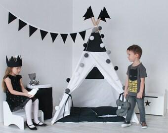 READY TO SHIP! Black and White Teepee, Tipi, Play Tent, Play House, Nursery, Teepee Tent, Kids Teepee, Wigwam, Indoor