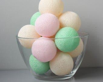 READY TO SHIP! Mint Green & Pink Cotton Ball Light | Handmade Garland