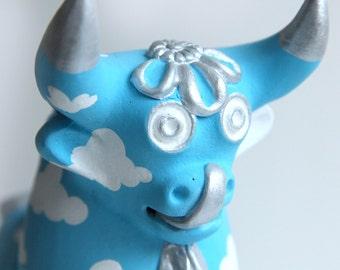 Hand painted ceramic bull in cloud design - Torito de Pucara