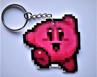 Pixel Kirby Sprite Keychain