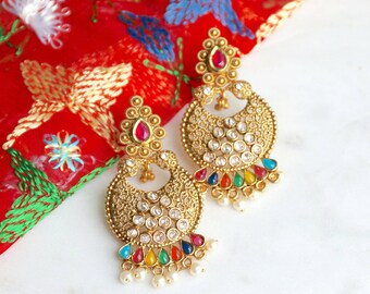 Gold Multicolour Stone Earrings - Indian Jewelry, Multicolour Earrings, Phulkari, Sangeet Earrings, Indian Wedding Earrings, Bridal Earrings