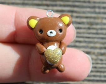 bear charm with glittery heart, bear charm, kawaii bear charm, clay charm, kawaii charm, polymer clay charm, modelling clay charm