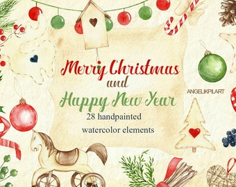 Watercolor Christmas clipart set contains 28 high-quality elements Retro style horse, bow, label. invitations and greeting card designs.