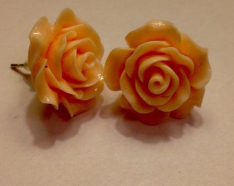 Light Peach Apricot Rose Flower Silver Plated Earrings Present Mother's Day Christmas Birthday Co Worker