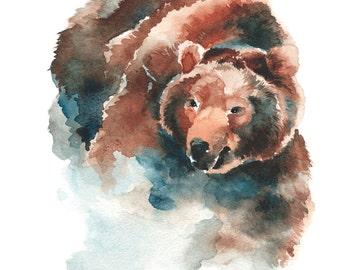 Bear Watercolor Fine Art Giclee Print/ Animal painting/ Wildlife watercolor/ Bear lover gift