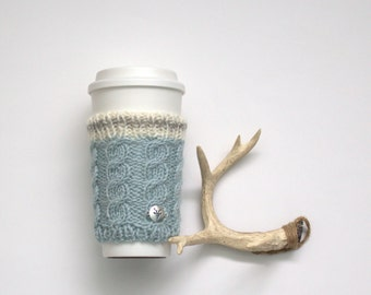 Coffee cup cozy - Tea Cozy - Coffee Cup Sleeve -Hand knit cozy - Gifts Under 20, mens coffee cup cosies