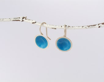 Silver earrings with enamel of different colors, hanging round earrings in sterling silver, enamelling in colorful diversity, enamel jewelry