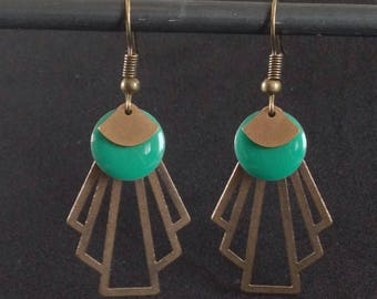 Earrings enameled sequin - retro-