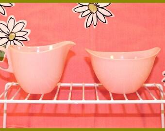 Vintage PINK Oneida Premier Melamine / Melmac OD Sugar Bowl and Creamer Set - 1950's - 60s