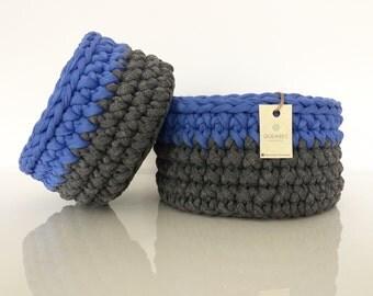 Set di 2 cestini BLU-GRIGIO all'uncinetto   crochet baskets   crochet bowls