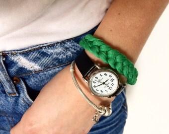 Hippie bracelet | Boho bracelet | t-shirt yarn bracelet | Cotton bracelet | Eco bracelet | Crochet bracelet | Color: GREEN
