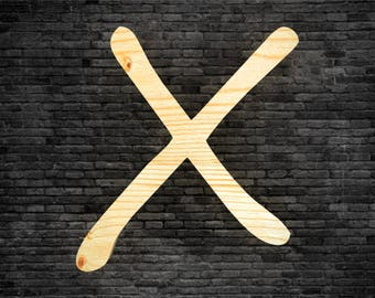 Letters in wood - X