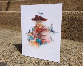 Watercolor Feed the Birds, Jane Darwell, Mary Poppins Card