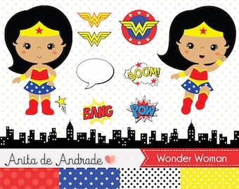 Wonder Woman clipart, Super hero vector - Commercial use - girl, girl power, super girl, comics, heroes - C016