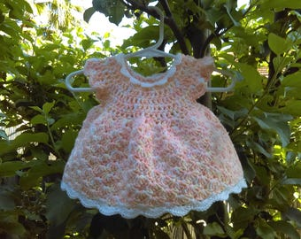 Peach/lt yellow/ white dress with white collar and trim 0-6 months