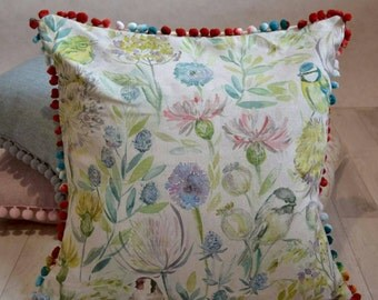 "Beautifully handmmade large 18"" Voyage morning chorus linen birds wild flowers cushion cover"