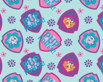 Paw Patrol Skye and Everest Nick Jr Cotton Fabric pup power nickelodeon woven girls quilting material kids turquoise by the yard  metre