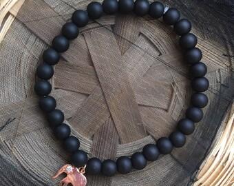 Matte Black Rose Gold Elephant Charm Bracelet