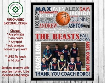 Personalized BASKETBALL COACH GIFT ~ Basketball Team Gift ~ Basketball End of Season ~ Jpeg Digital File ~ Personalized