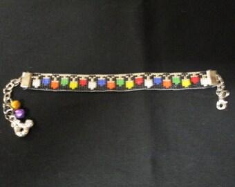Handmade Bracelet, Holiday Inspired, Christmas Lights, Loom Beaded
