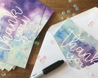 Thankyou Note Cards, Blue and Purple Watercolour Greeting Card, Handwritten Thank You Card, A6 Postcard.