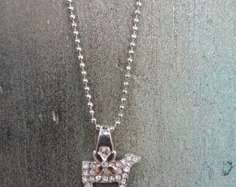 BLING SHOW STEER necklace,clear stones ,great for kids, pendant comes with ball chain